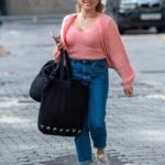 Sian Welby in a Pink Top Leaves the Global Studios in London