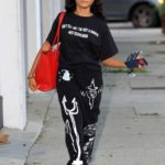 Skai Jackson in a Black Tee Arrives at the DWTS Studio in Los Angeles