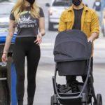 Sophie Turner in a Black Leggings Was Seen Out with Joe Jonas and Newborn Daughter in Los Angeles