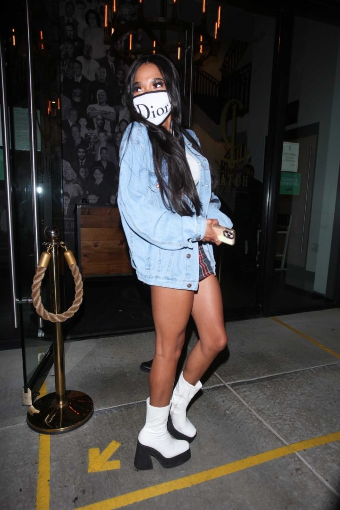 Teala Dunn in a Blue Denim Jacket