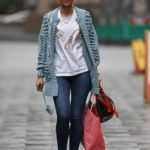 Vogue Williams in a Grey Cardigan Arrives at the Heart Radio in London