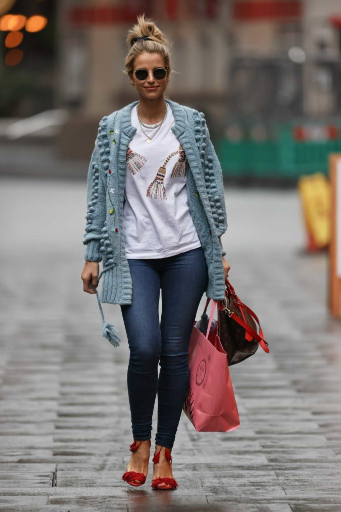 Vogue Williams in a Grey Cardigan