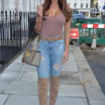 Yazmin Oukhellou in a Blue Ripped Jeans Leaves the Fox and Vamp Hair Salon in Chelsea