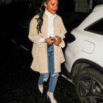 Alex Scott in a Blue Ripped Jeans Arrives at The One Show in London