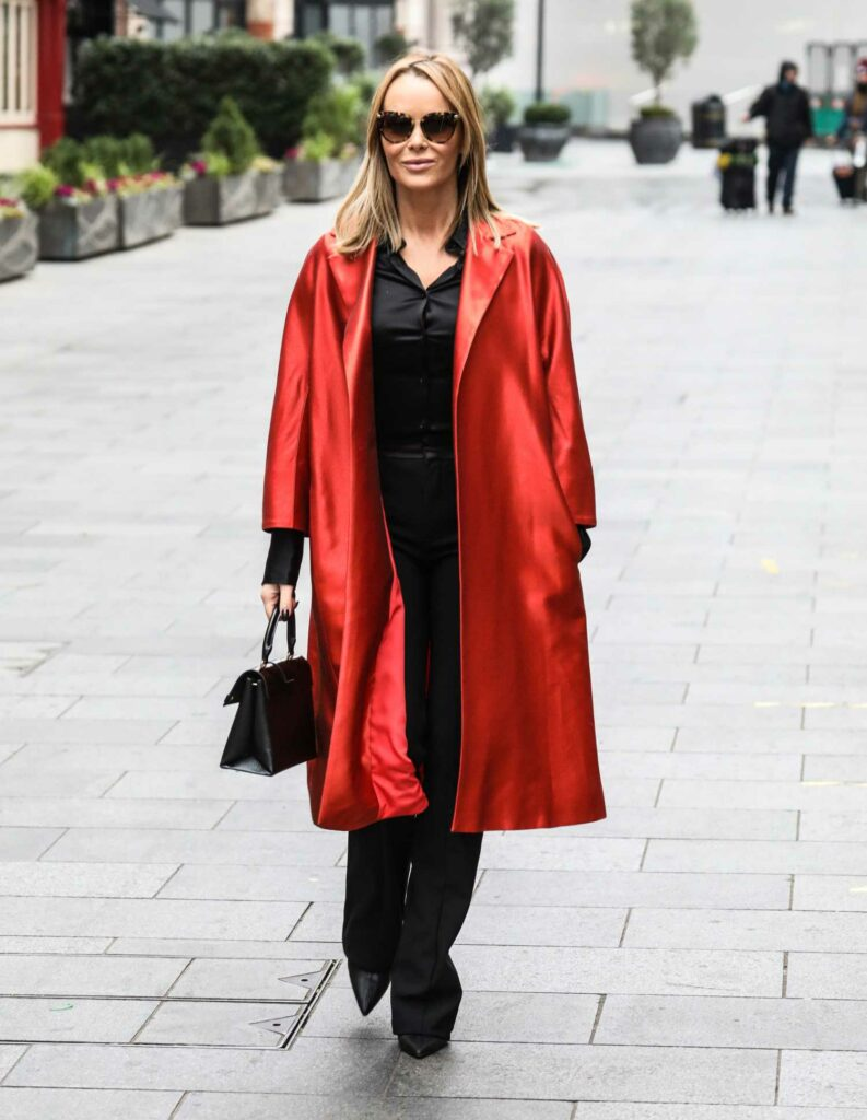 Amanda Holden in a Red Trench Coat