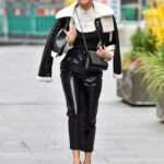 Ashley Roberts in a Black Leather Pants Leaves the Global Studios in London