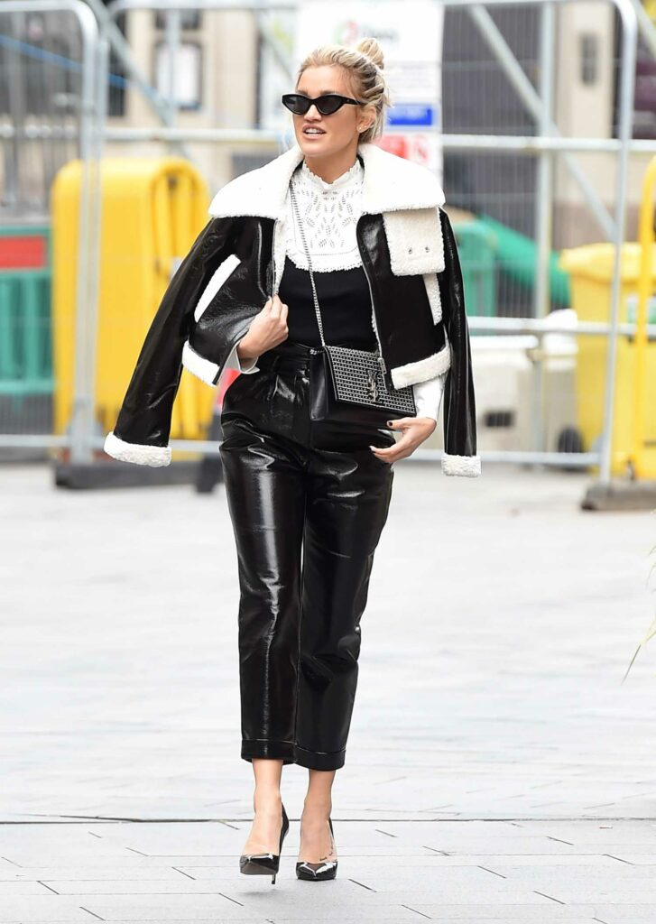 Ashley Roberts in a Black Leather Pants
