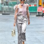 Ashley Roberts in a Silver Pants Leaves the Heart Radio Breakfast Show in London
