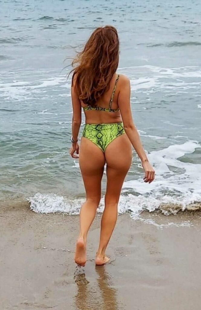 Blanca Blanco in a Green Bikini