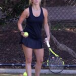 Britney Theriot in a Black Mini Dress Plays Tennis in Sydney