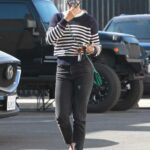 Britt Stewart in a Striped Sweater Arrives at the DWTS Studio in Los Angeles