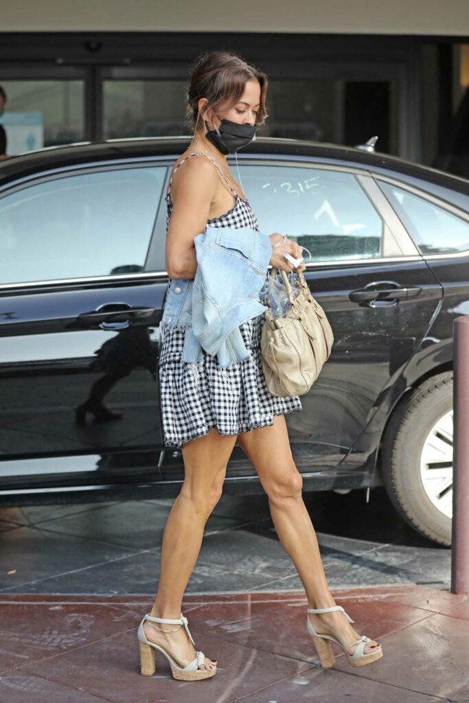 Brooke Burke in a Checked Mini Dress