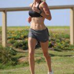 Candice Warner in a Black Sports Bra Does Her Morning Run in Sydney