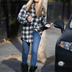 Caprice Bourret in a Grey Plaid Shirt Shops in Central London