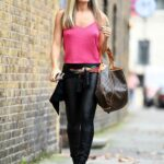 Caprice Bourret in a Pink Top Heads to a Recording Studio in London