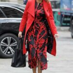 Charlotte Hawkins in a Red Coat Arrives at the Global Studios in London