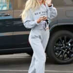 Daniella Karagach in a Grey Sweatsuit Arrives for Dance Practice at the DWTS Studio in Los Angeles