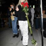 Dixie D'Amelio in a Beige Protective Mask Enjoys Dinner at Il Pastaio in Beverly Hills