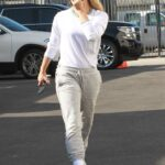 Emma Slater in a Grey Ripped Sweatpants Arrives at the DWTS Studio in Los Angeles