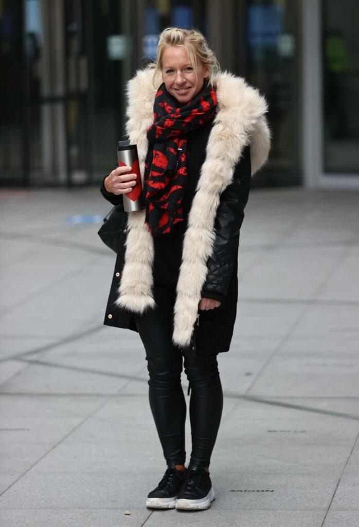 Gail Emms in a Black Coat