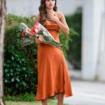 Hannah Ann Sluss in an Orange Dress Was Seen Out in Los Angeles