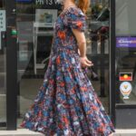 Isla Fisher in a Floral Dress Grabs Coffee in Paddington, London