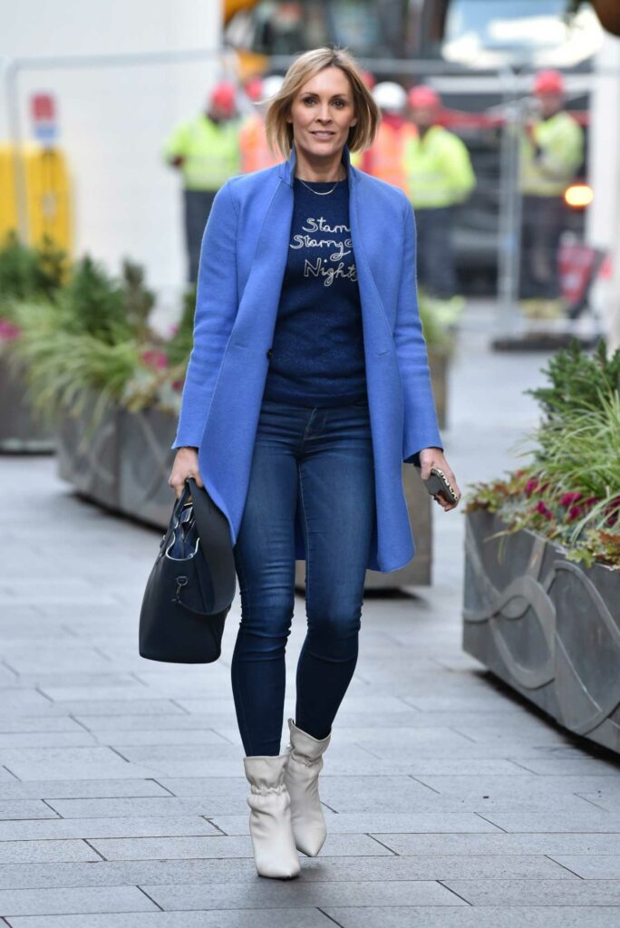 Jenni Falconer in a Light Blue Coat