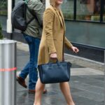 Jenni Falconer in a Yellow Coat Leaves the Global Studios in London