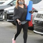 Justina Machado in a Pink Sneakers Arrives at the DWTS Studio in Los Angeles