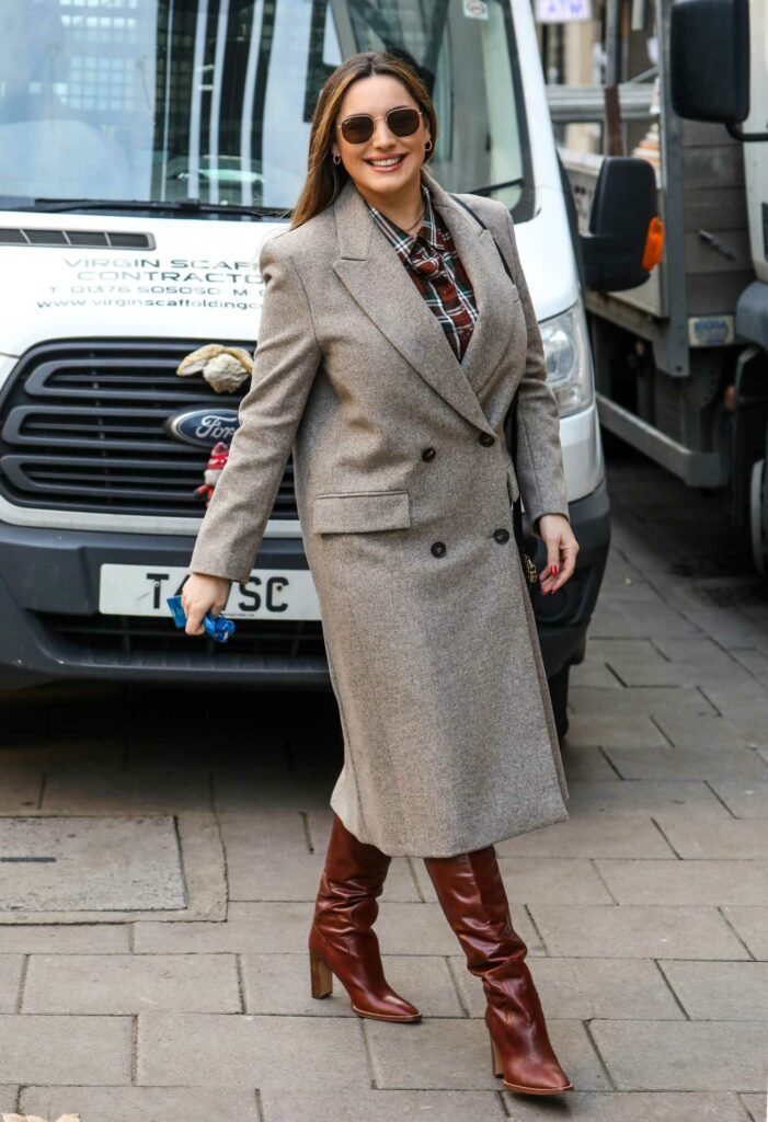 Kelly Brook in a Grey Coat