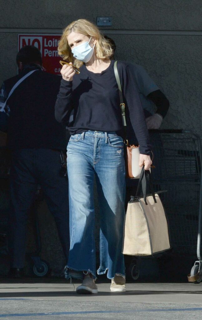 Kyra Sedgwick in a Protective Mask