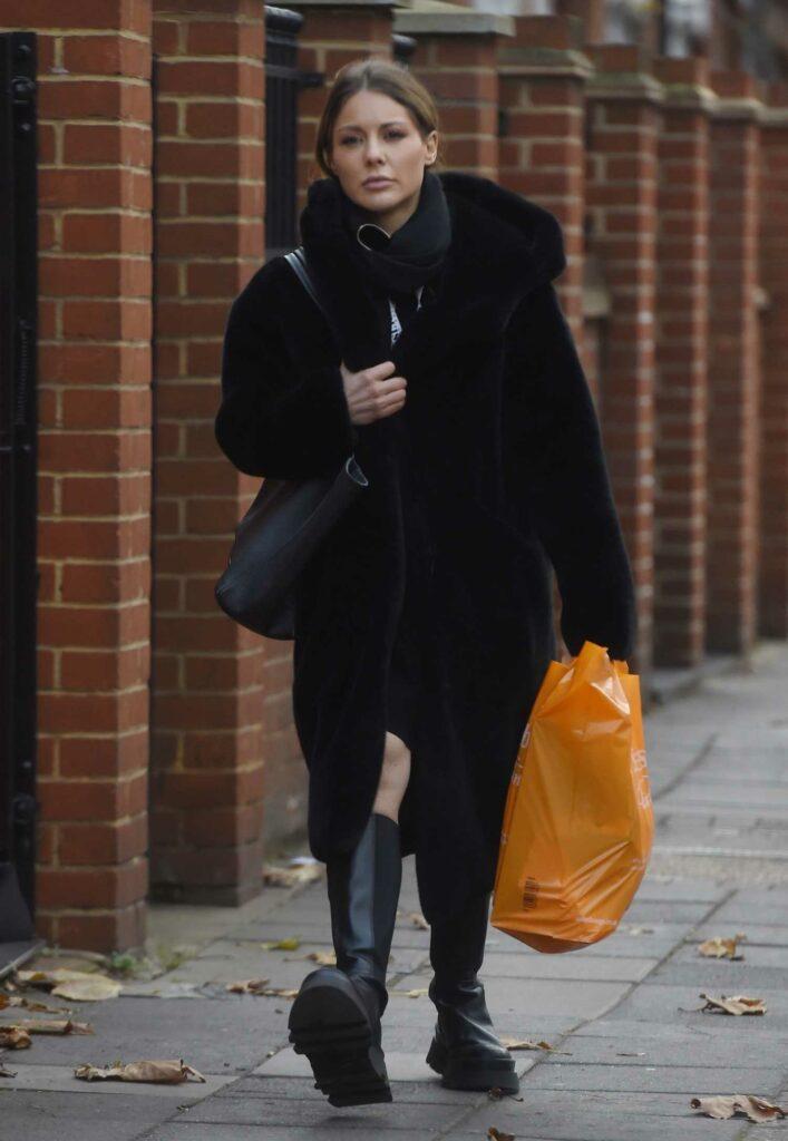 Louise Thompson in a Black Fur Coat