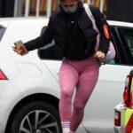 Maisie Smith in a Pink Leggings Arrives at Strictly Come Dancing Rehearsals in London
