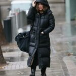 Myleene Klass in a Black Puffer Coat Arrives at the Smooth Radio in London
