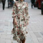 Myleene Klass in a Floral Dress Arrives at the Smooth Radio in London