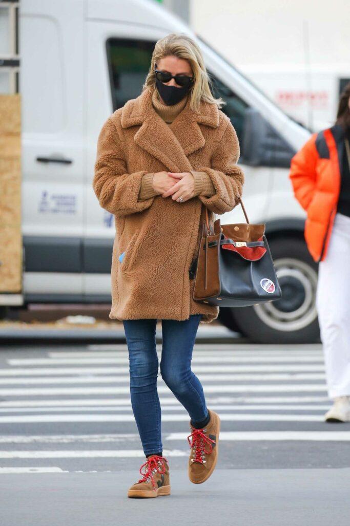 Nicky Hilton in a Tan Faux Fur Coat
