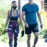 Nicole Scherzinger in a Blue Sports Bra Leaves a Gym in Los Angeles
