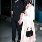 Nicole Scherzinger in a Champagne Silk Dress Enjoys Her Date Night in Beverly Hills