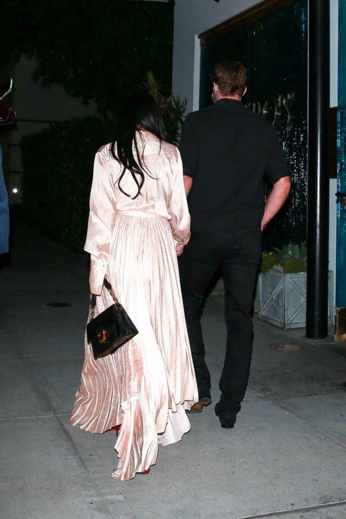 Nicole Scherzinger in a Champagne Silk Dress