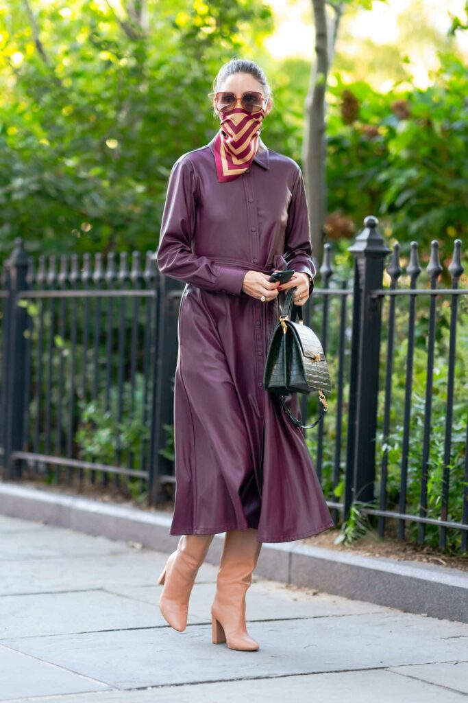 Olivia Palermo in a Purple Trench Coat