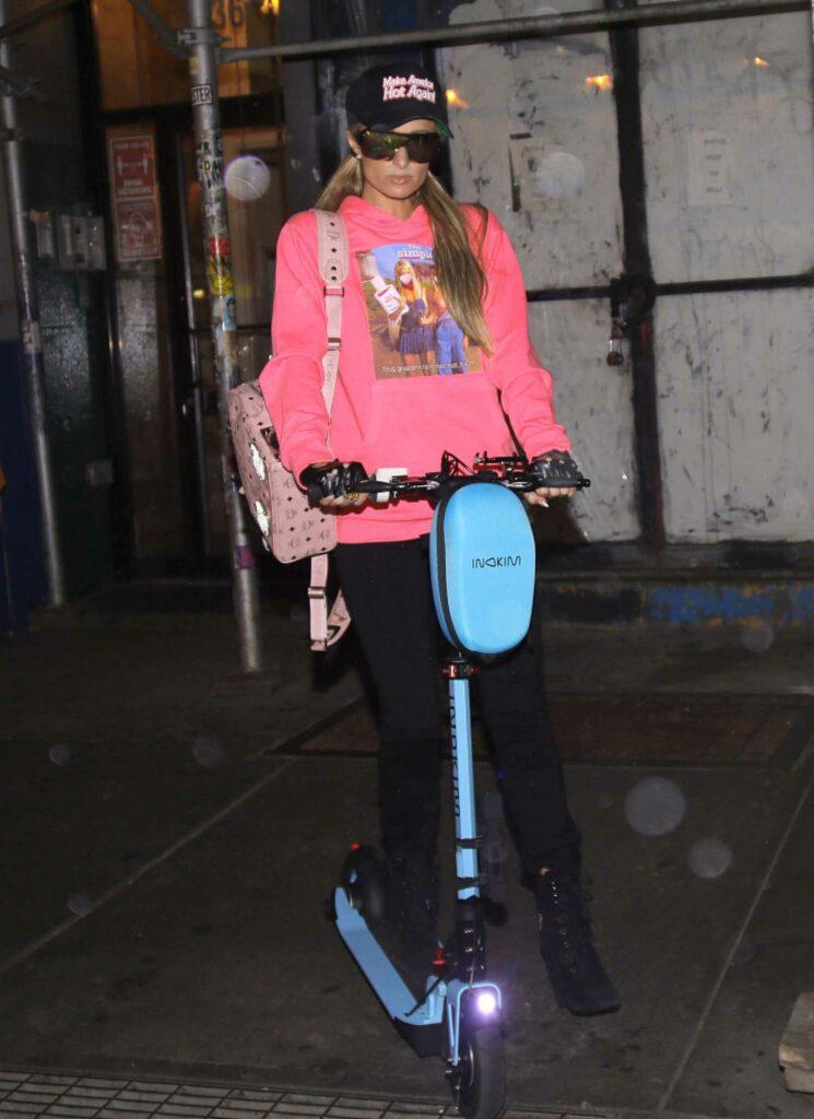 Paris Hilton in a Pink Sweatshirt