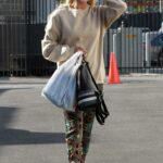 Peta Murgatroyd in a Beige Sweatshirt Arrives at the DWTS Studio in Los Angeles
