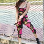 Phoebe Price in a Floral Catsuit Arrives at a Tennis Courts in Studio City