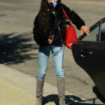 Skai Jackson in a Black Fur Jacket Arrives at the DWTS Studio in Los Angeles