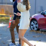 Sutton Foster in a Protective Mask on the Set of Younger in Queens, New York