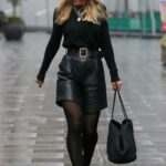 Vogue Williams in a Black Outfit Arrives at the Heart Radio Show in London