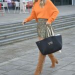 Vogue Williams in an Orange Sweater Was Seen Out in Leeds