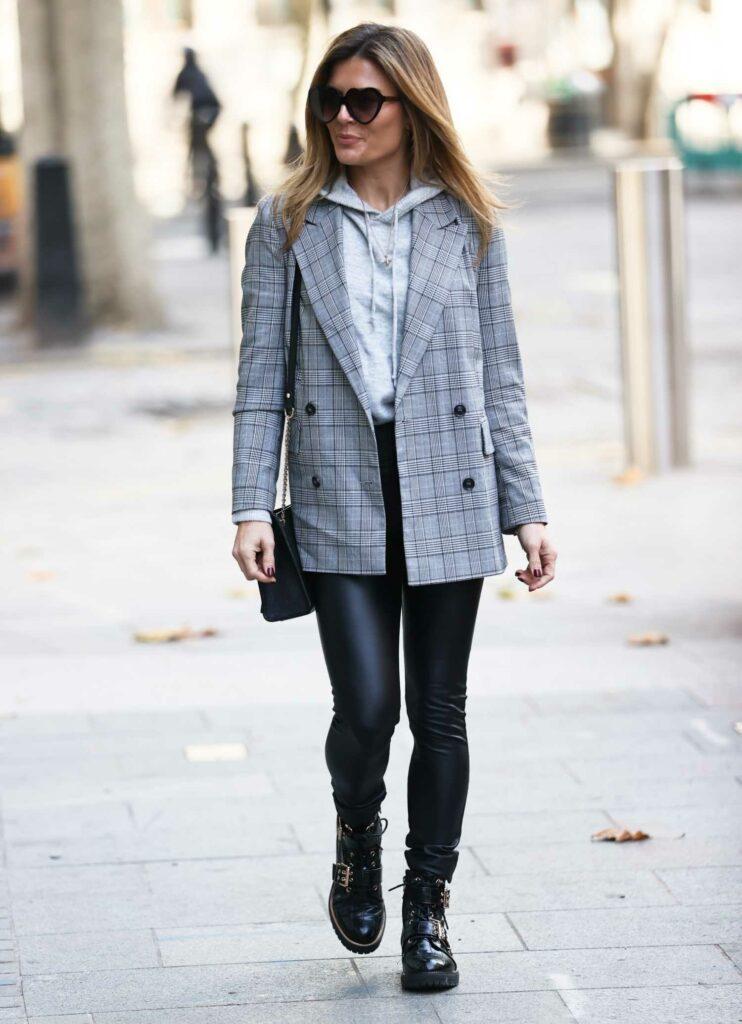 Zoe Hardman in a Grey Checked Blazer