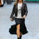 Amanda Holden in a Black Skirt Leaves the Global Radio Studios in London