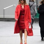 Amanda Holden in a Red Coat Arrives at the Global Radio in London